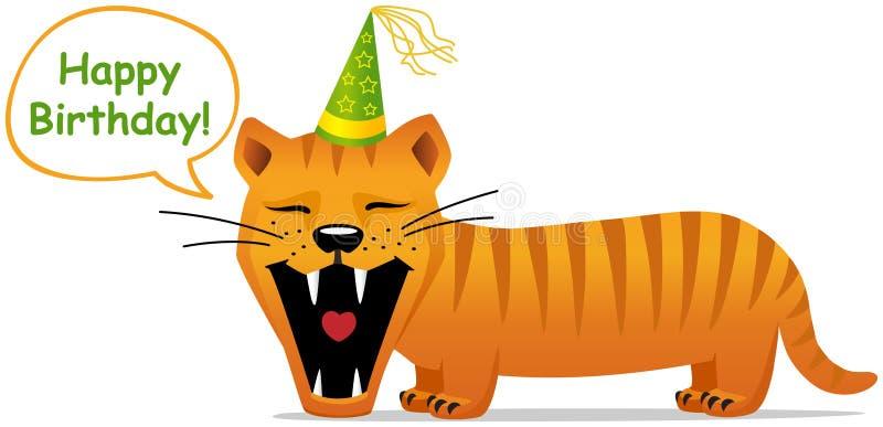 Geburtstagkarte, lächelnde Katze stockfotografie