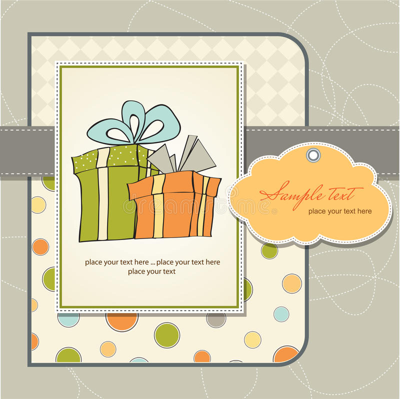 Geburtstagkarte mit Geschenkkasten stock abbildung