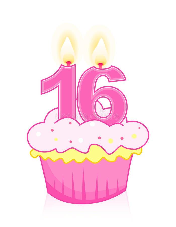 Geburtstagkuchen des Bonbons sechzehn lizenzfreie abbildung