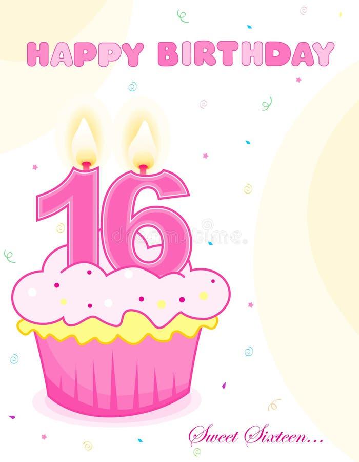 Geburtstagkuchen /greeting des Bonbons sechzehn vektor abbildung