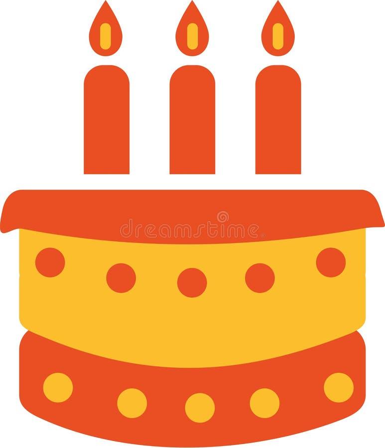 Geburtstagkuchen mit drei Kerzen lizenzfreie abbildung