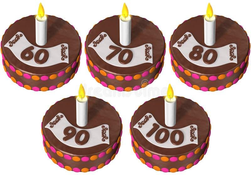 Geburtstagkuchen sechzig bis hundert stock abbildung