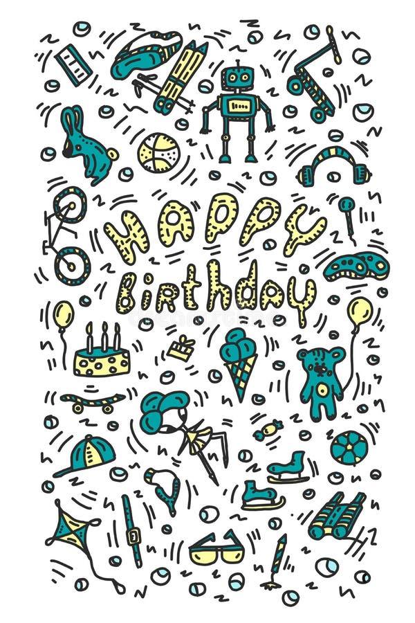 Geburtstags-Geschenke Gemalte Elemente und positive helle Beschriftung Rollerfahrradspielzeugrobotersturmhaubefernglas-Geschenkbo lizenzfreie abbildung