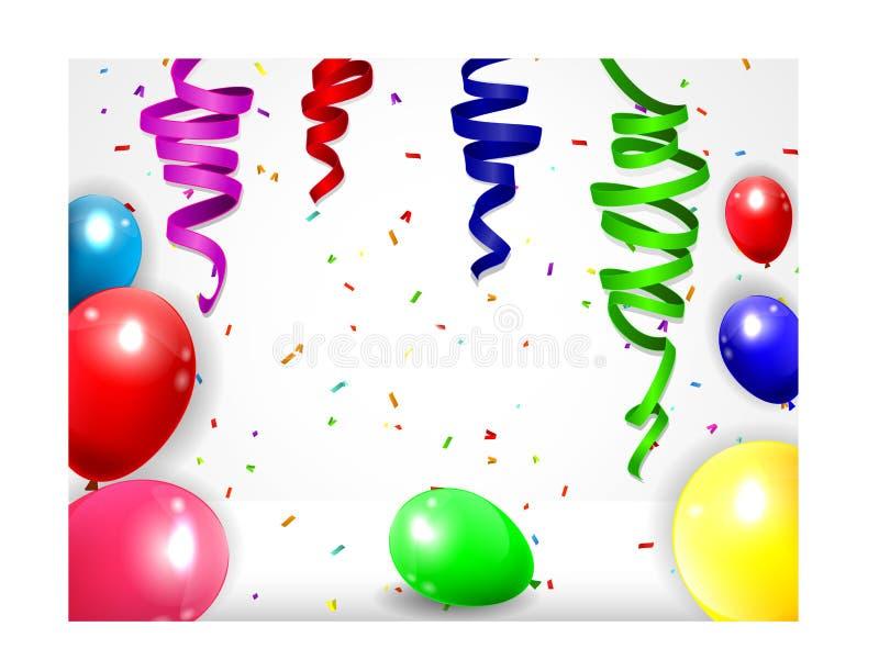 Geburtstags-Hintergrund mit bunten Ballonen stock abbildung