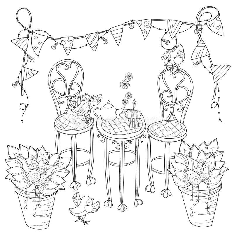 Geburtstags-Teezeit des Vektors nette in den Blumen vektor abbildung