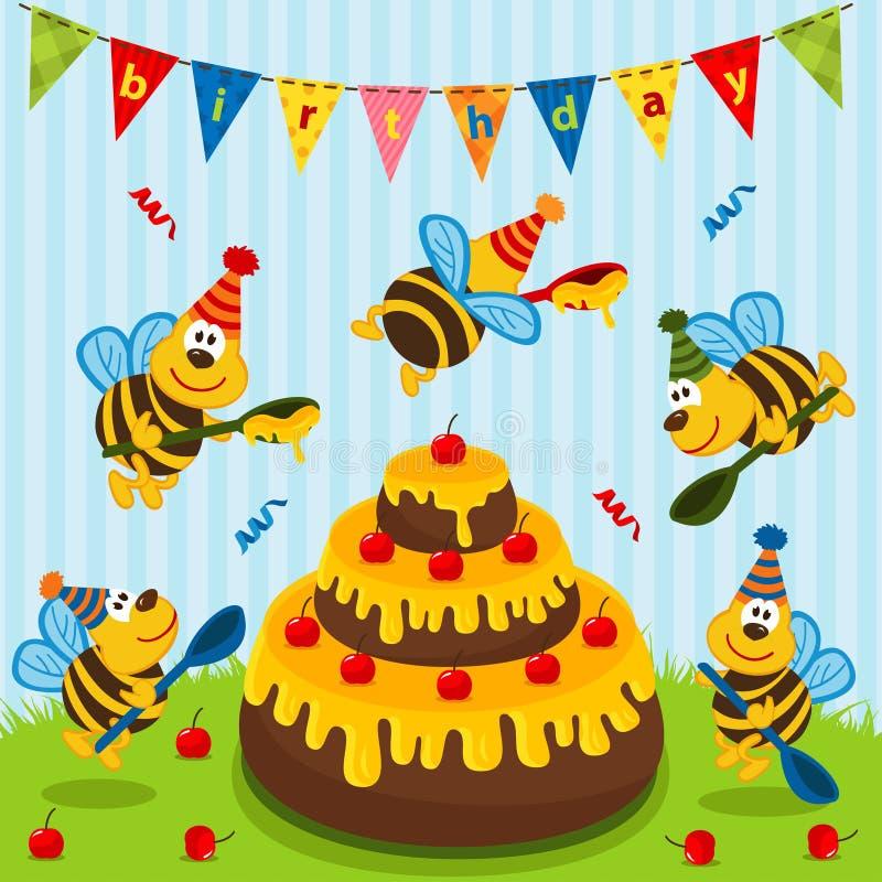 Geburtstagsbienen vektor abbildung