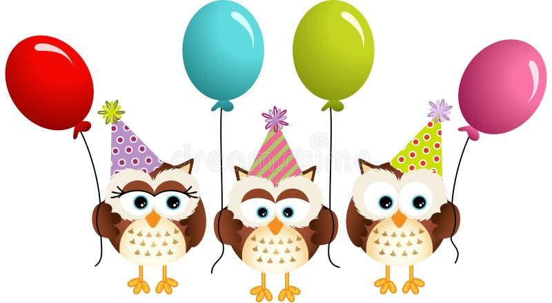 Geburtstagseulen mit Ballonen stock abbildung
