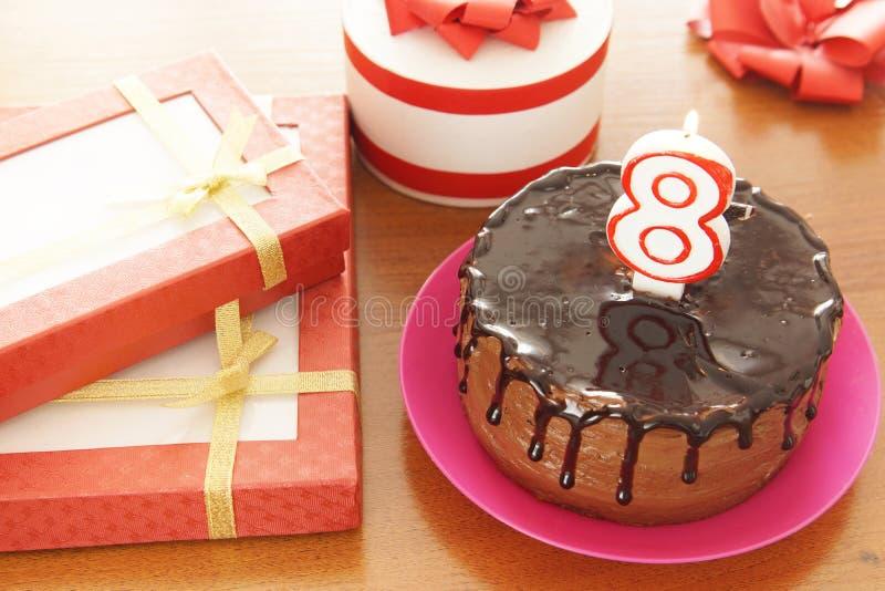 Geburtstagsfeier bei acht Jahren stockfoto