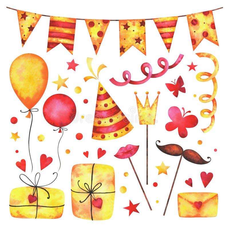 Geburtstagsfeier-Clipartsatz des Aquarells glücklicher stock abbildung