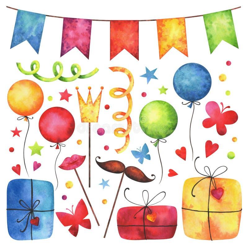 Geburtstagsfeier-Clipartse des Aquarells glückliches lizenzfreie abbildung