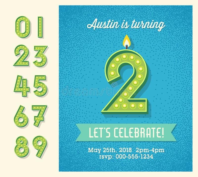 Geburtstagsfeier-Einladung mit Glühlampeanzeigenzahlen lizenzfreie abbildung
