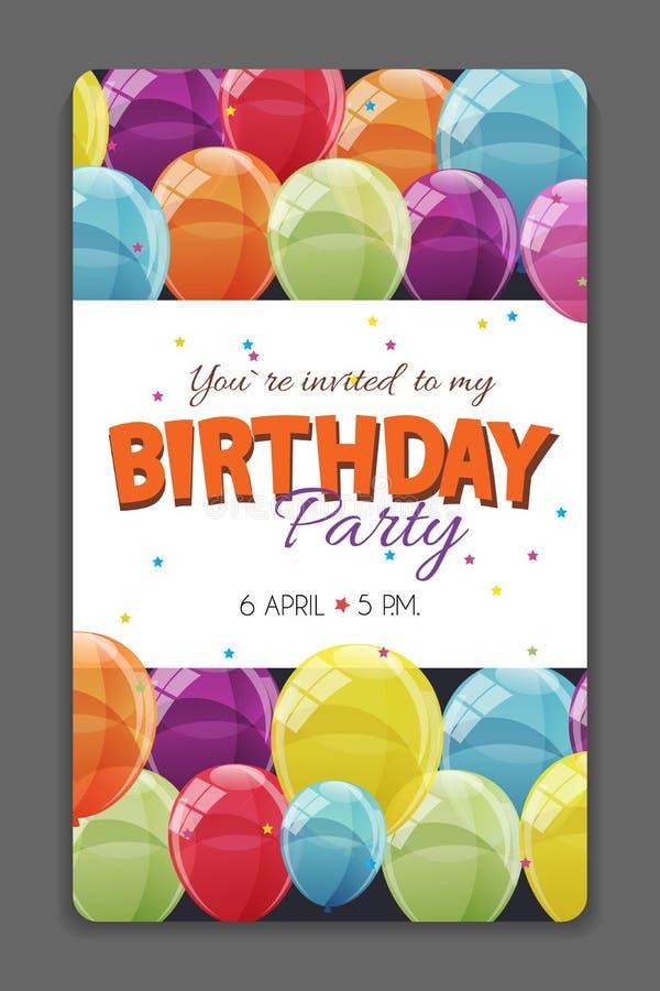 Geburtstagsfeier-Einladungs-Karten-Schablonen-Vektor-Illustration stock abbildung