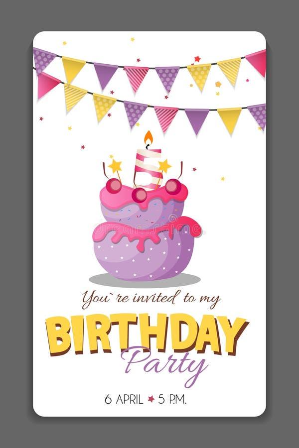 Geburtstagsfeier-Einladungs-Karten-Schablonen-Vektor-Illustration lizenzfreie abbildung