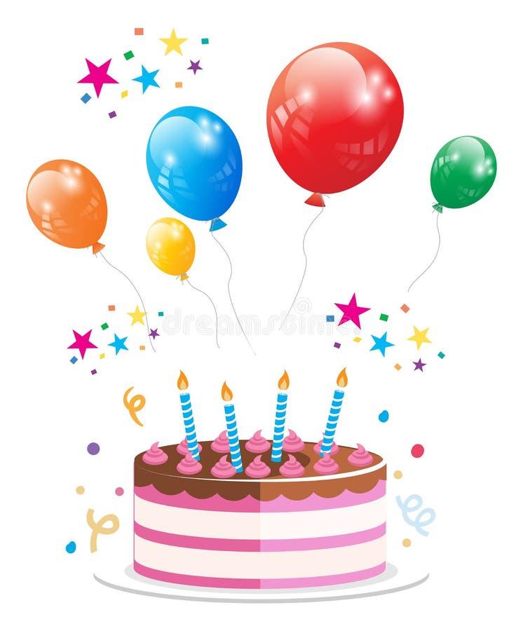 Geburtstagsfeier-Kuchen-Ballon-Vektor lizenzfreie stockfotos