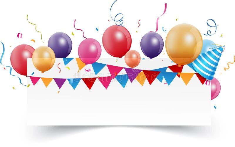 Geburtstagsfeierfahne lizenzfreie abbildung