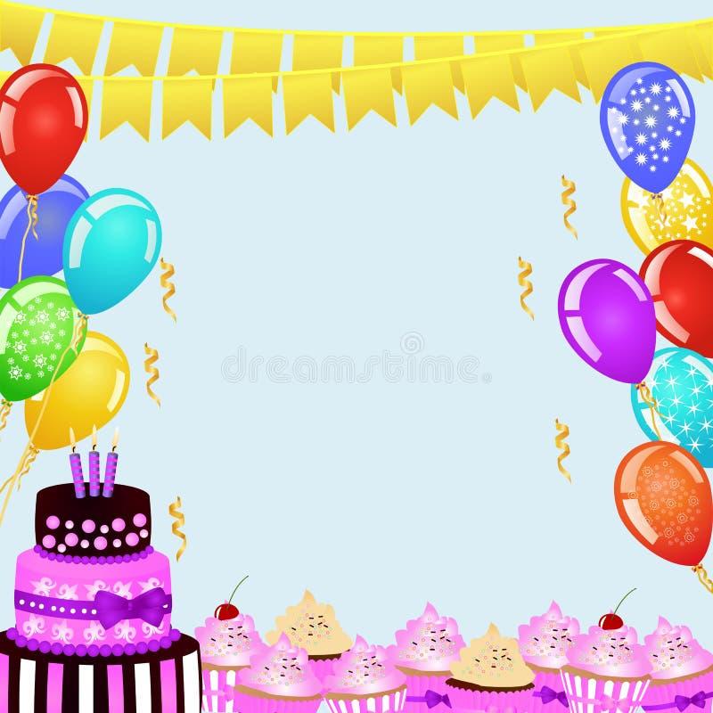 Geburtstagsfeierhintergrund mit Flaggenflaggen, Ballonen, Geburtstagskuchen und kleinen Kuchen lizenzfreie abbildung
