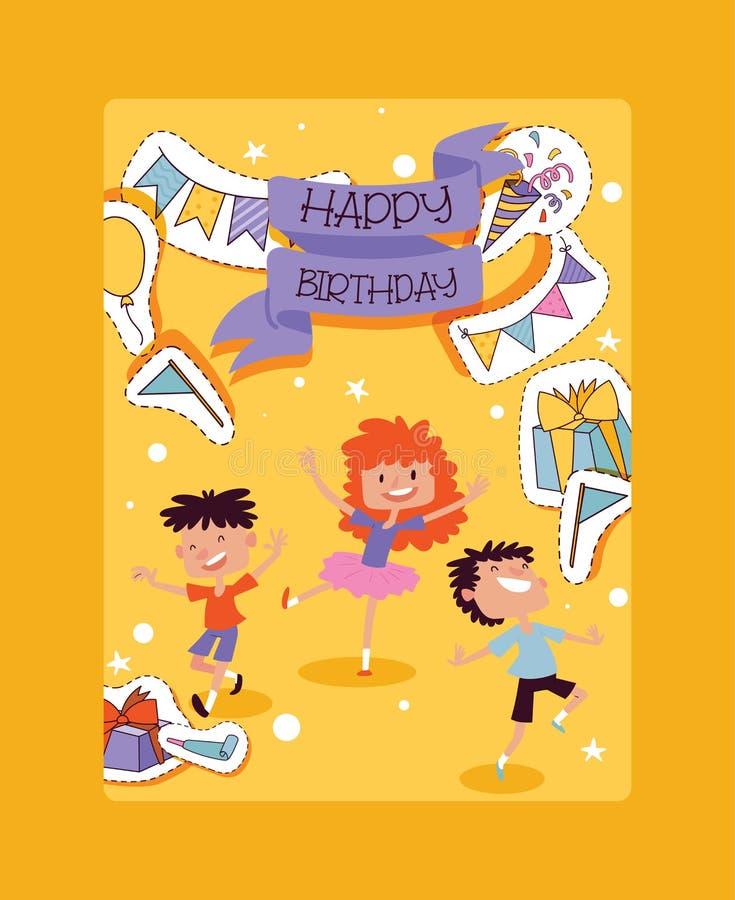 Geburtstagsfeiermustervektor-Kindercharaktere und Jahrestagskarikaturkinderglückliche Geburtsfeier mit Geschenken und stock abbildung