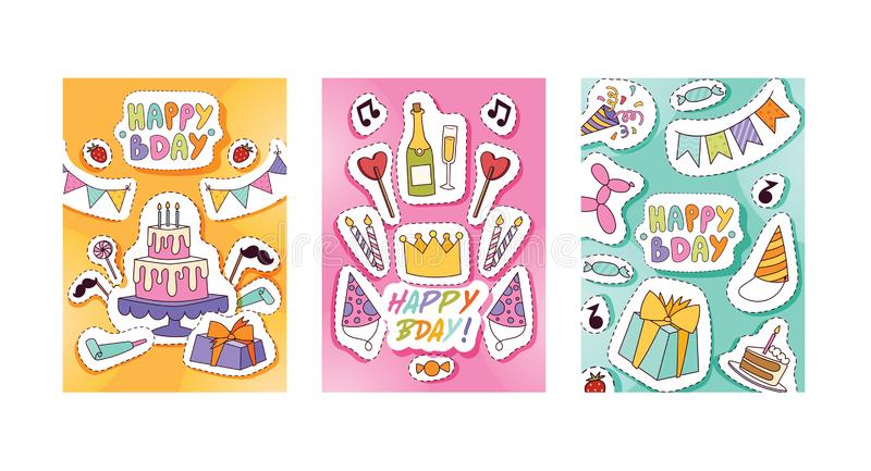Geburtstagsfeiermustervektorjahrestagskarikaturkinderglückliche Geburtskuchen- oder -kuchenfeier mit Geschenken und Geburtstag lizenzfreie abbildung