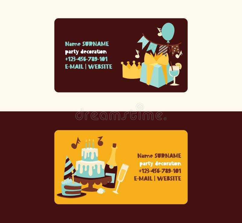 Geburtstagsfeiervektorjahrestags-Visitenkarteentwurfs-Karikaturkinderglückliche Geburtskuchen- oder -kuchenfeier mit Geschenken vektor abbildung