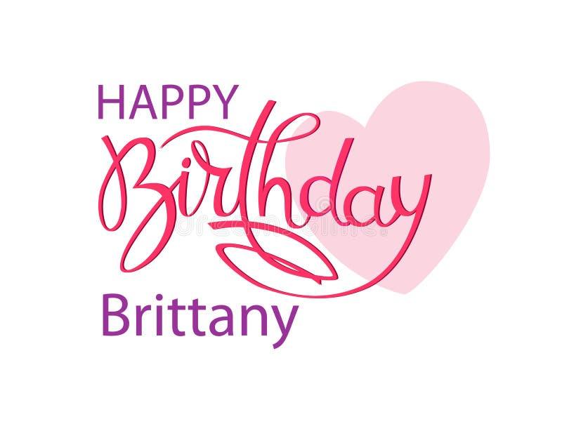 Geburtstagsgrußkarte mit dem Namen Bretagne Elegante Handbeschriftung und ein gro?es rosa Herz Lokalisiertes Gestaltungselement stockfoto