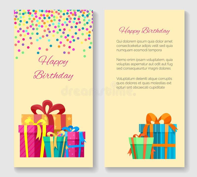 Geburtstagsgrußkarte mit Geschenkboxen stock abbildung