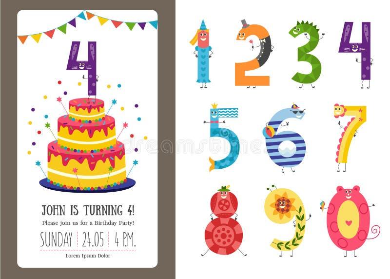 Geburtstagsjahrestags-Karikaturzahlen und Einladungskartenschablonensatz lizenzfreie abbildung