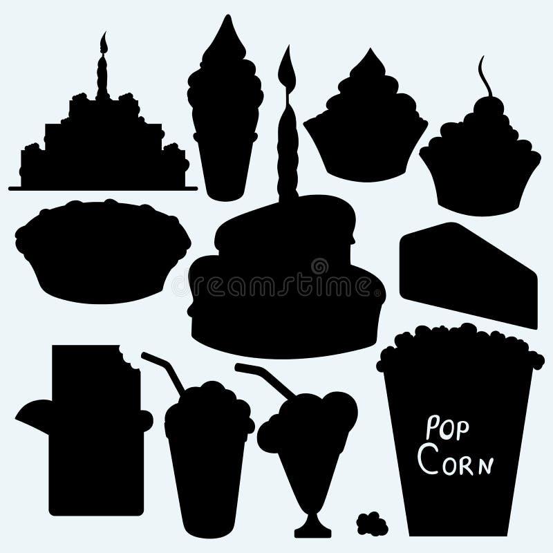 Geburtstagskleiner kuchen, Kuchen, Torte, Schokoriegel, Eiscreme und Popcorn lizenzfreie abbildung