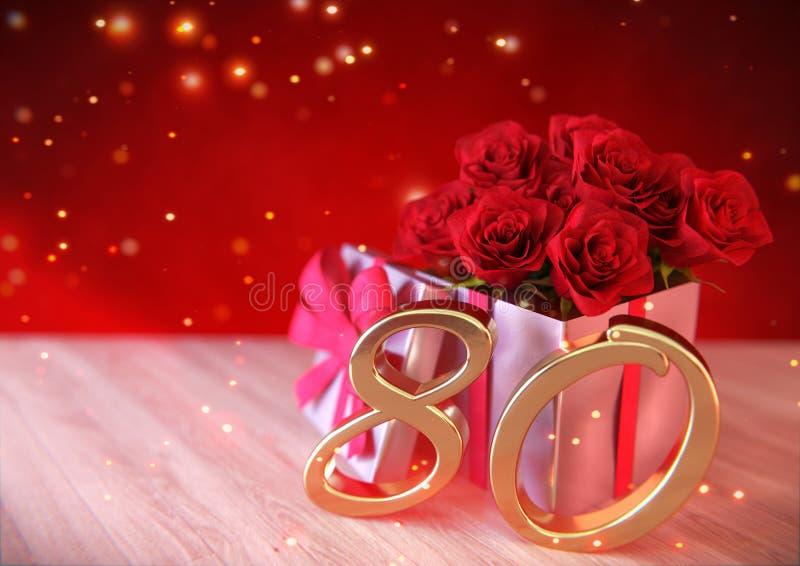 Geburtstagskonzept mit roten Rosen im Geschenk auf hölzernem Schreibtisch eightieth 80. 3d übertragen vektor abbildung