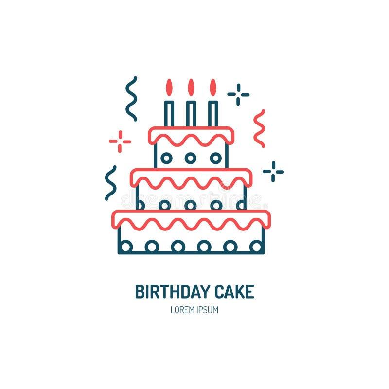 Geburtstagskuchenlinie Ikone Vektorlogo für Bäckerei, Parteiservice Dünnes lineares Symbol des geschmackvollen Torte für Ereignis lizenzfreie abbildung