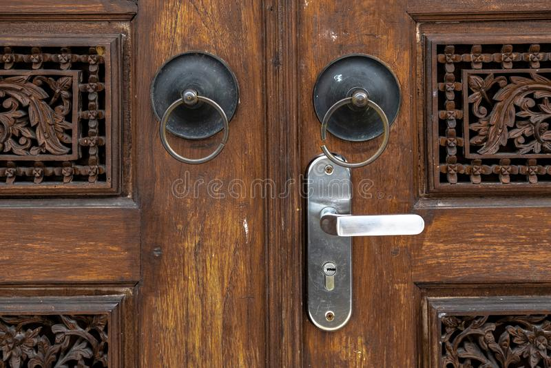 The Ancient Ring-Shaped Door Handle at Gebyok stock photo