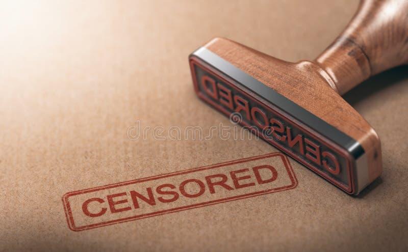 Gecensureerde Informatie, Censuur en Vrijheid van Toespraak royalty-vrije illustratie