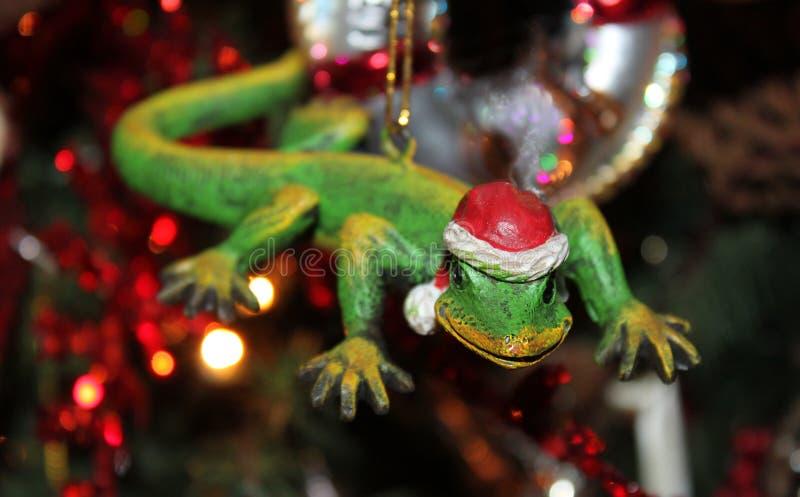 Gecko με τη διακόσμηση Χριστουγέννων καπέλων Santa με το θολωμένο δέντρο με τα φω'τα στο υπόβαθρο - εκλεκτική εστίαση στοκ εικόνα με δικαίωμα ελεύθερης χρήσης