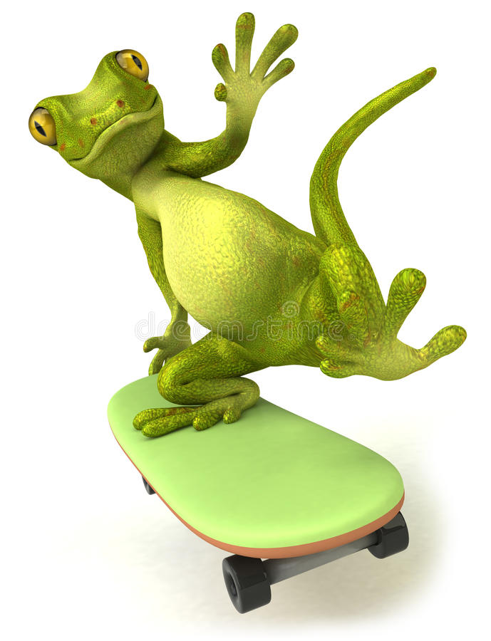 Gecko. Fun green gecko, 3d generated picture