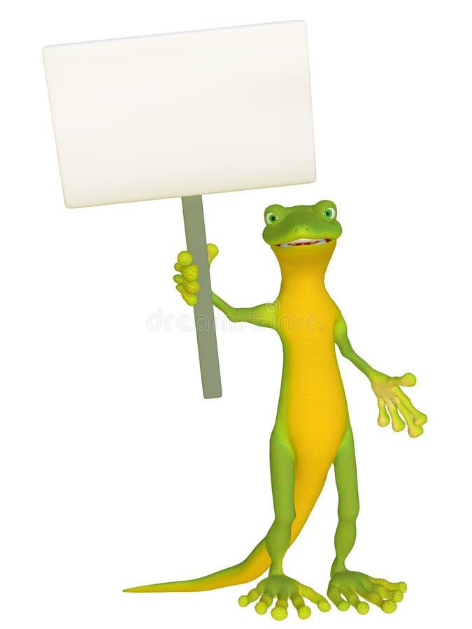 Gecko avec un signe vide illustration libre de droits