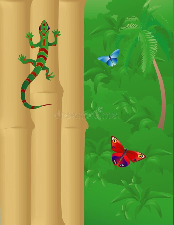 Gecko, bambu, e selva ilustração stock