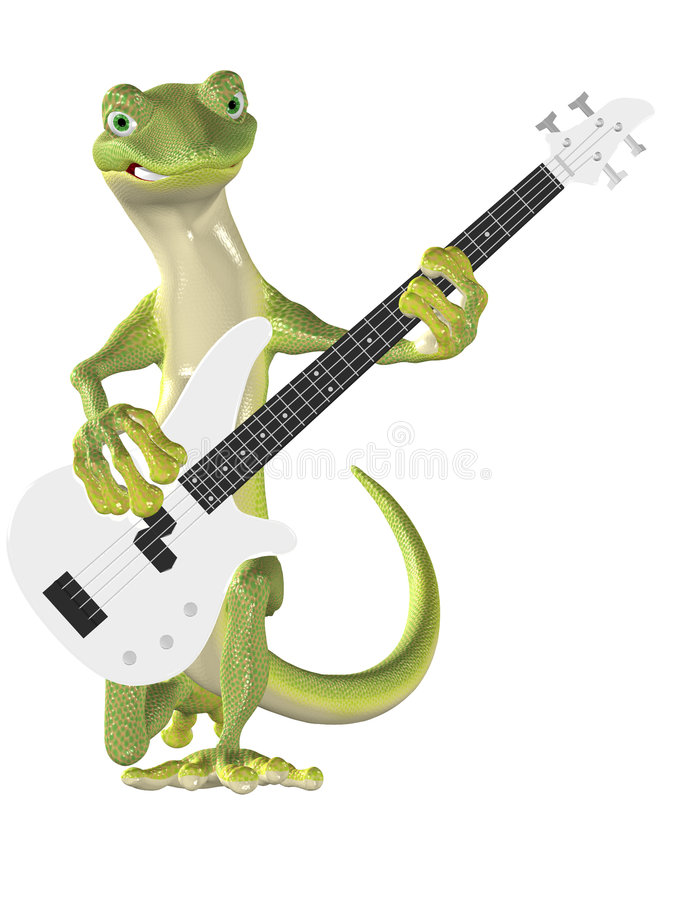 Gecko on Bass Guitar. A serious Gecko kneeling while posing with a bass guitar. 3D render