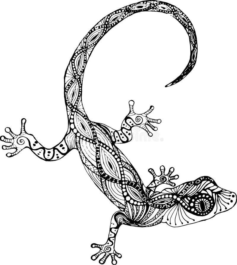 Gecko de lézard dans le style de zentangle photographie stock libre de droits