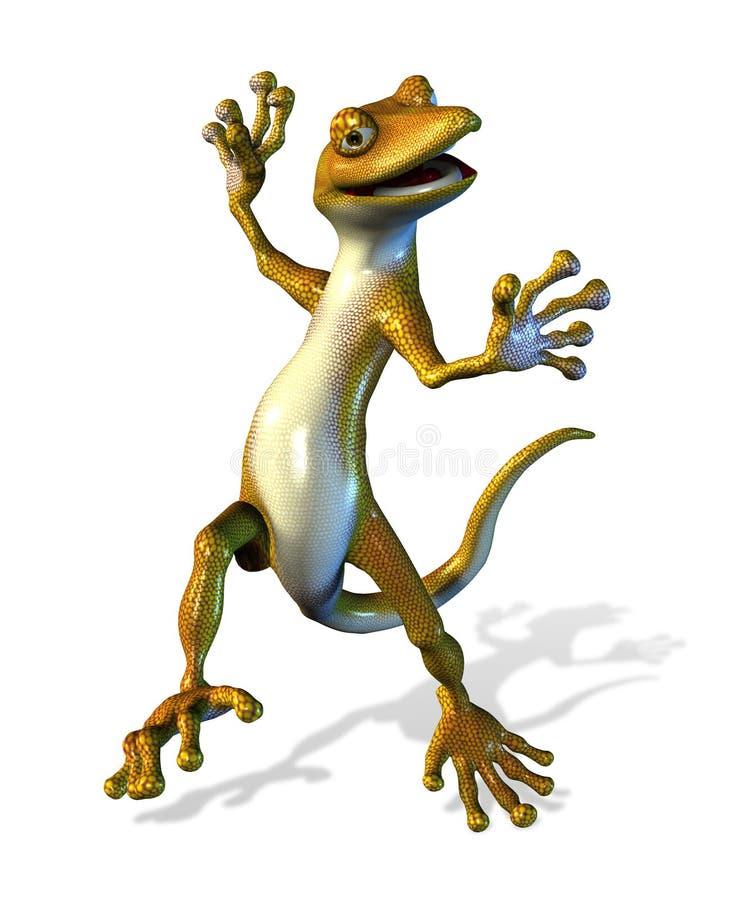 Gecko felice di Dancing - con il percorso di residuo della potatura meccanica illustrazione di stock