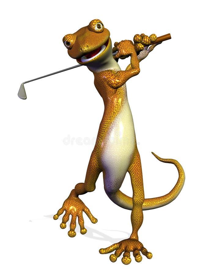 Gecko Golfing illustrazione di stock