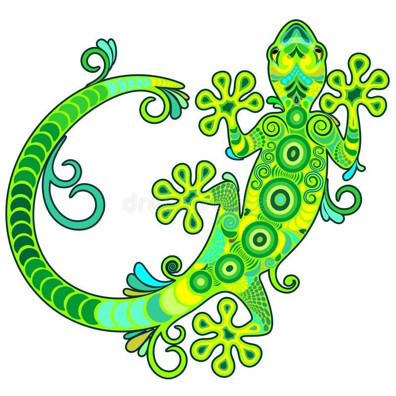 Download Gecko Lizard Ornamental Tattoo Style Stock Vector - Illustration of green, reptile: 89609966