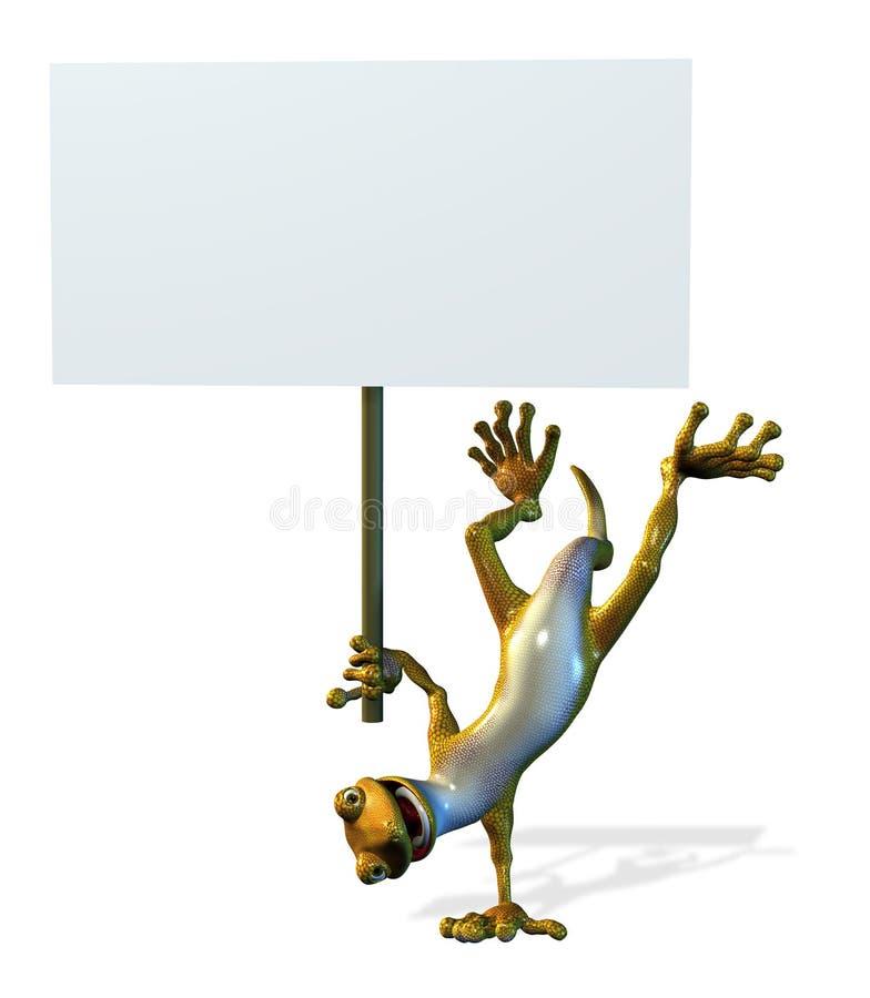Gecko maladroit avec le signe blanc - comprend le chemin de découpage illustration stock