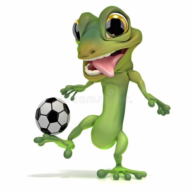 Gecko que golpea el balón de fútbol con el pie ilustración del vector