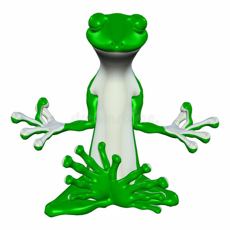 Gecko vert méditant illustration de vecteur