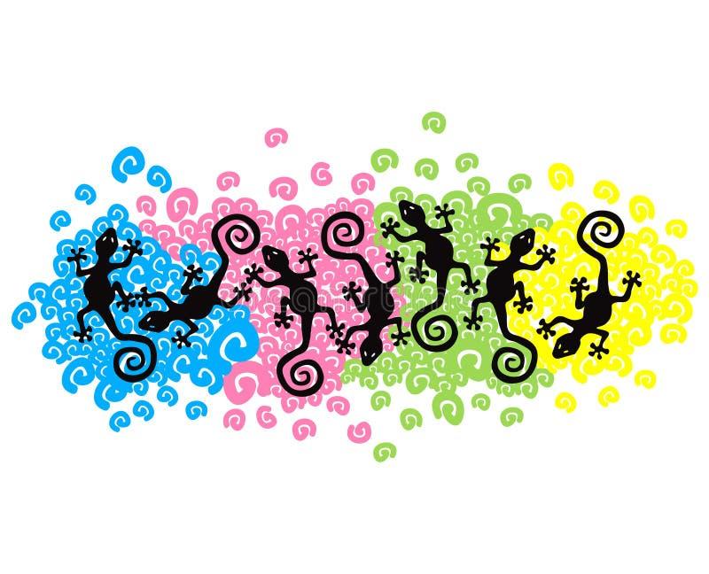 Geckos de flutuação ilustração stock