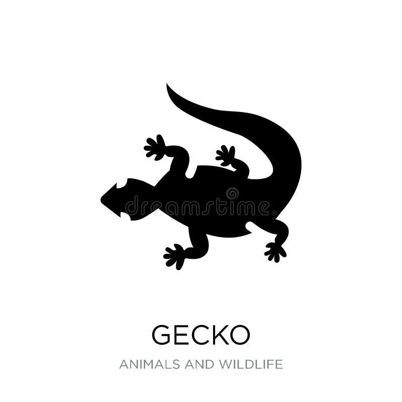 geckosymbol i moderiktig designstil geckosymbol som isoleras på vit bakgrund enkelt och modernt plant symbol för geckovektorsymbo royaltyfri illustrationer