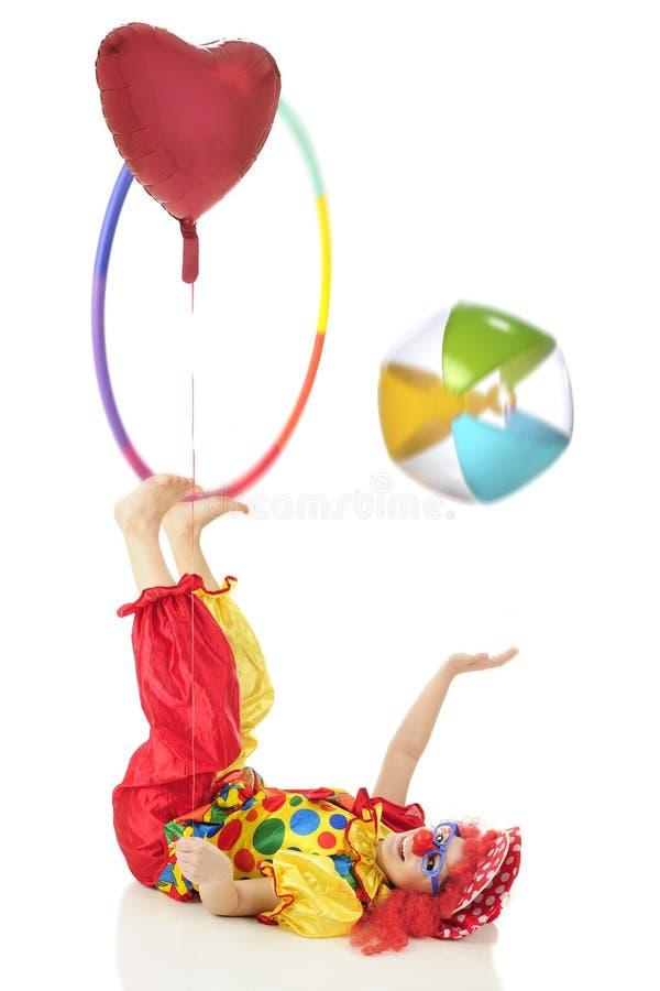 Gecoördineerde Clown Stunts royalty-vrije stock foto's