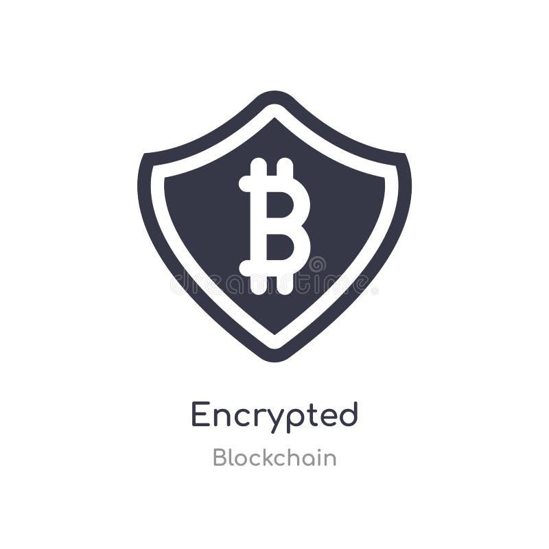 Gecodeerd pictogram geïsoleerde gecodeerde pictogram vectorillustratie van blockchaininzameling editable zing symbool kan gebruik stock illustratie