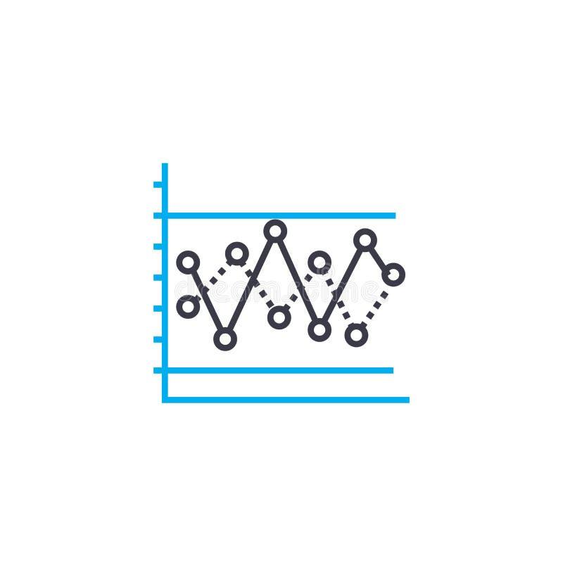 Gecombineerd de slagpictogram van de grafiek vector dun lijn De gecombineerde illustratie van het grafiekoverzicht, lineair teken stock illustratie