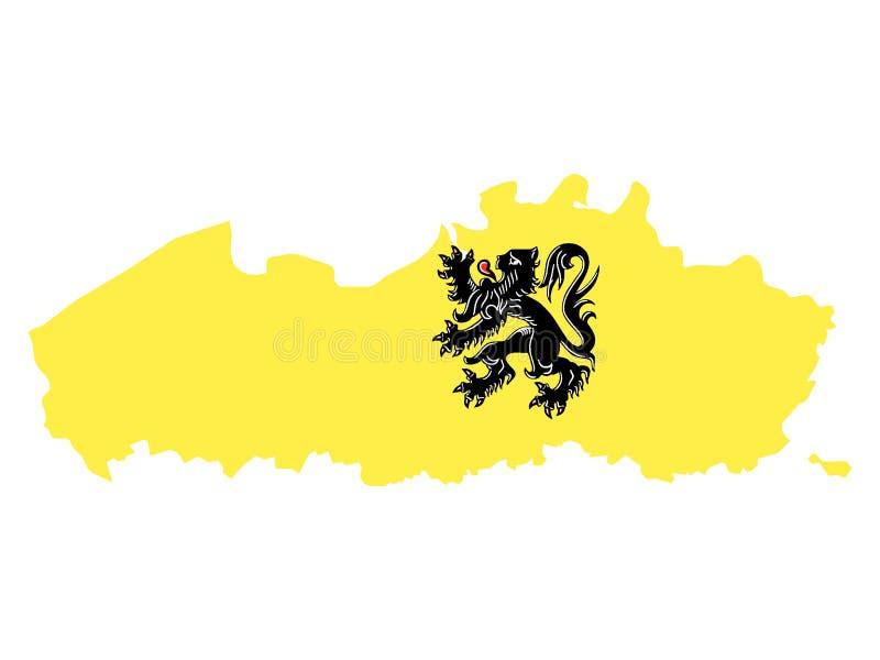 Gecombineerde Kaart en Vlag van Belgisch Gebied van Vlaanderen vector illustratie