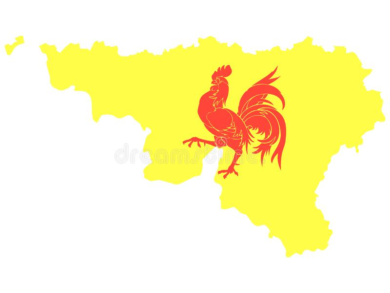 Gecombineerde Kaart en Vlag van Belgisch Gebied van Waal stock illustratie